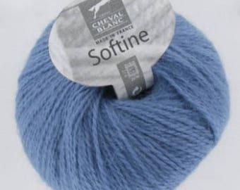 Wool knitting SOFTINE blue No. 165 white horse