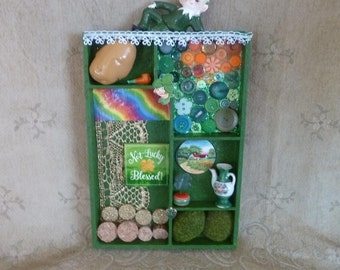St. Patrick's Day Shadow Box, St.Patrick's Day decor, Irish decor, Ireland, home decor, ornaments and accents