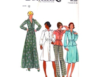 1970s Shirt Dress, Top, Skirt, Pants Sewing Pattern Butterick 4028 Maxi Dress Trousers Womens Sewing Pattern Size 12 UNCUT