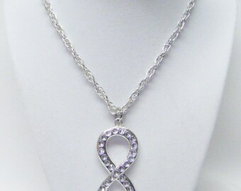 Silver Plated Figure 8 Infinity Pendant w/Rhinestones Necklace