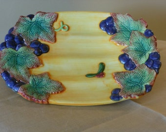 Fitz and Floyd Vintage Hand Painted Plate with Grapes and Leaves
