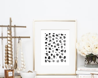 Abstract Watercolor Dalmatian Print Artwork - Watercolor Leopard Print Artwork - Abstract Watercolor Poster -- Abstract Black Watercolor Art