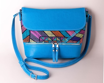Turquoise crossbody bag with abstract geometric pattern Small purse Turquoise handbag Shoulder bag Crossbody purse Blue purse