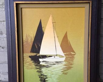 Mid Century Sail Boats Vintage Mustard Framed 18.5x15.5