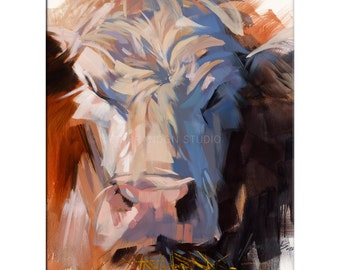 Cow Art - Matted Print of Original Oil Painting - Cows, Animal Lovers, Farms, Happy Art