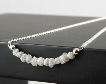 White Diamond Necklace in Sterling Silver - White Rough Uncut Diamonds - Natural Unfinished Raw Diamonds - April Birthstone
