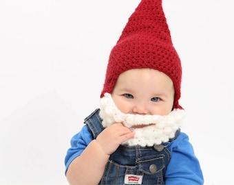 Crochet Baby Gnome Costume/Hat/Boots/Beard