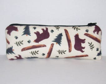 """Bear Forest Bag, Glass Pipes, Pipe Case, Padded Pipe Pouch, Pipe Bag, Stoner Gifts, 420, Wilderness, Zipper Pouch, Hiker Gifts - 7.5"""" LARGE"""