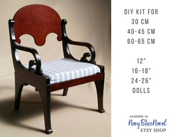 "ARMCHAIR for 30/40/50 cm (12""/16-18""/20-22"") doll, PRE-ORDER diy doll furniture kit dollhouse furniture laser cut unpainted bjd chair Blythe"