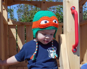 Ninja Turtle Hat Crochet PATTERN TMNT NB to Adult