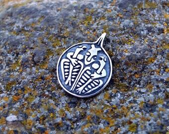 Odin and his ravens Huginn and Muninn, viking pendant, Sterling Silver