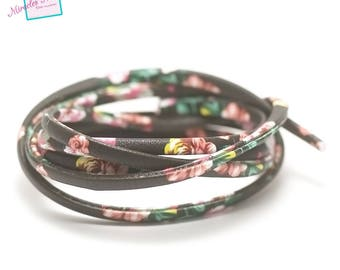"1 m of imitation black lined ""flower"" 5 mm flat leather cord"