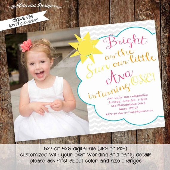 you are my sunshine birthday invitation brighter than the sun first communion baptism christening tea party girl picture gay   248 Katiedid
