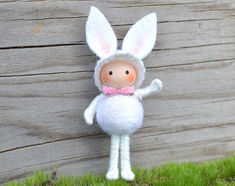 Easter Bunny Bendy Doll White
