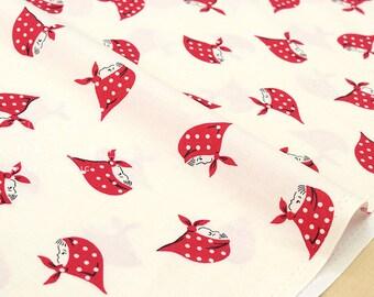 Japanese Fabric Kerchief Girls - red - 50cm