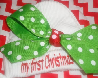 My First Christmas girl's baby hat