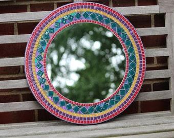 Round Mosaic Mirror - Green, Purple, Red and Yellow