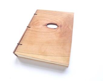Cherry Wooden Notebook Wood Journal Sketchbook Rustic Wood Wedding Guest Book Personalized Journal Refillable Journal Custom Journal