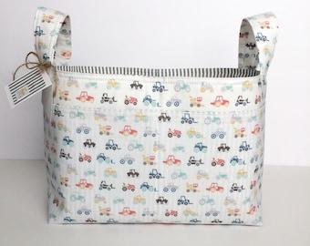 diaper caddy ~ fabric basket ~ tractor farm multi color gray white striped ~ nursery storage ~ toy organizer ~ nursery decor ~ storage caddy