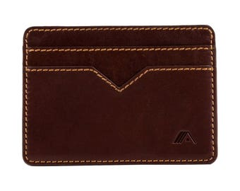 Super Slim Card and Cash Wallet - Minimalist Man Leather Wallet - A-SLIM - Brown/Tan - Sunnari