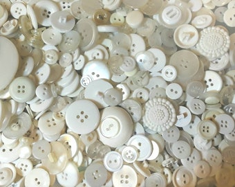 500 Vintage, White, Translucent, Cream Colored Buttons,  Lot W-2 (Free US Shipping)