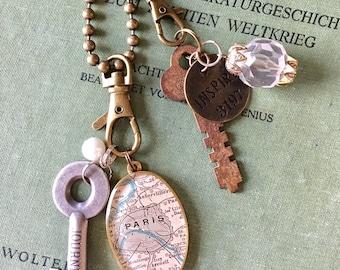 Charm Clip, Bag Clip, Purse Clip for your Map Pendant Necklace