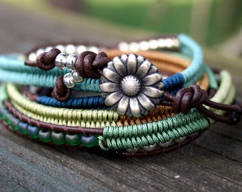 Wrap Bracelet- Macrame Bracelet- Gift for Her- Summer Colors 2017- Macrame Wrap Bracelet- Bohemian Jewelry- Leather Wrap Bracelet