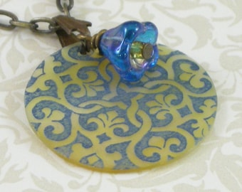 Victorian Motif Shell Pendant - Blue and Mother of Pearl