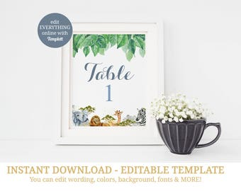 Printable Safari Table Numbers, Jungle Table Numbers, Table Numbers, Table Cards, Jungle Baby Shower, Safari Baby Shower, Safari Birthday