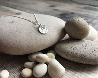 Aquamarine and Sterling Silver Necklace, Hammered Sterling Silver Necklace, Gemstone Necklace