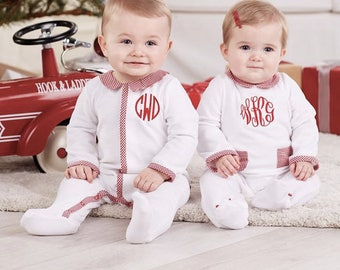 Monogrammed girls Christmas sleeper - Velour Christmas sleeper- Monogrammed baby girl