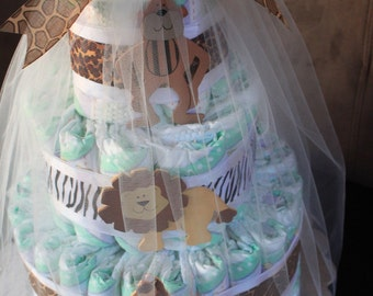 Jungle-Themed Three-Tiered Diaper Cake