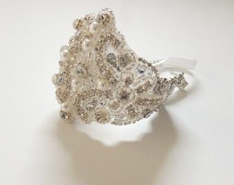 Wedding Bridal Beaded Crystal Bracelet Cuff Pearls