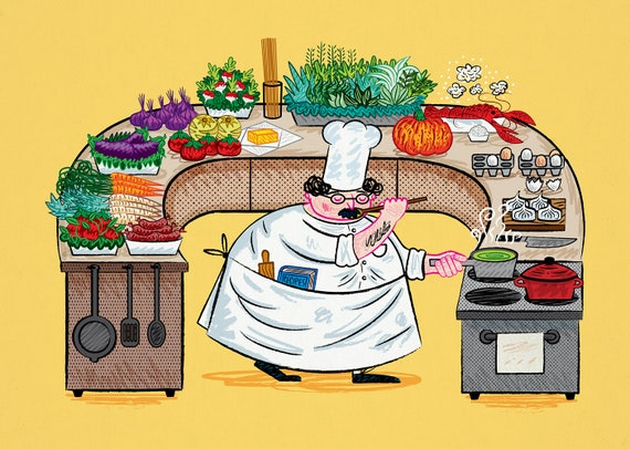 YES CHEF! - art poster print by Oliver Lake - iOTA iLLUSTRATiON