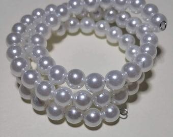Faux Pearl Memory Wire Bracelet