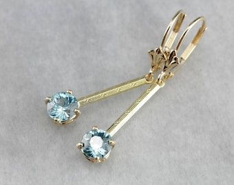 Blue Zircon Gold Bar Drop Earrings, Bridal Jewelry, Anniversary Gift W954FR-N