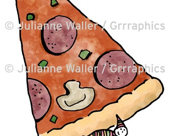 People with Food: Pizza Slice digital printable clipart