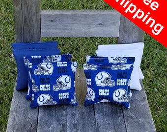"FREE SHIPPING! Indianapolis Colts set of 8 corn hole bags, top notch quality: 6"" regulation size!"