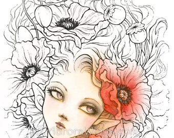 Digital Stamp - Instant Download - Red Poppies - Elf with Poppy Blooms - Fantasy Line Art for Cards & Crafts by Mitzi Sato-Wiuff