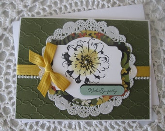 Handmade Greeting Card: With Sympathy (Green/Hello Honey Colors)
