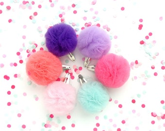 Set of 2 Tulle Pom Pom Hair Clips/Chooce any 2