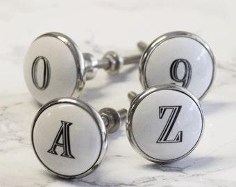 Alphabet Letter & Number Ceramic Cupboard Knobs