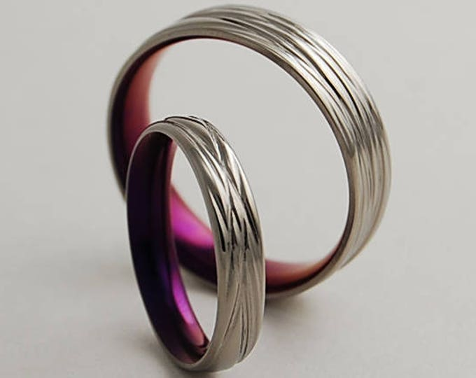 Sphinx Bands in Mystic Purple with Comfort Fit Interiors , Wedding Bands , Titanium Rings , Promise Rings