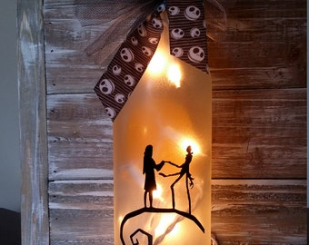Nightmare before Christmas decorations/Jack and Sally/moon Lighted Wine Bottle/Lamp/Wedding/Gift/Valentines Day