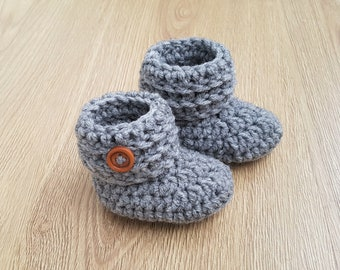 Newborn Baby Booties Crochet Baby Shoes Boys Girls Boots Socks Gray Wool Blend Baby Shower Gift for baby