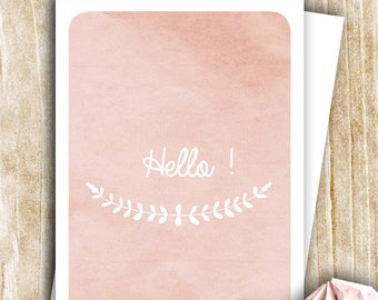 """""""Hello"""" in soft shades of pink blush"""