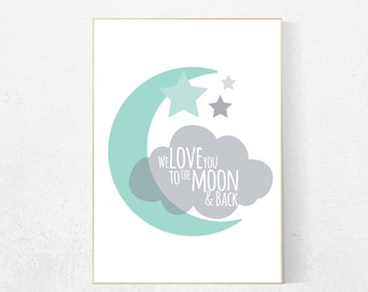 We love you to the moon and back, nursery decor, mint nursery decor, moon nursery, nursery wall art, baby room decor, toddler, new baby gift