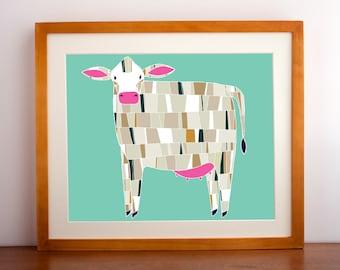 Barnyard Cow Print, Cow Illustration, Cow Art Print, Farm Art, Farmhouse Decor, Cow Home Decor, Barnyard Home Decor, Farm Decor