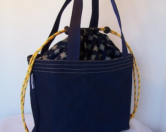 "Denim Insulated Lunch Sack, 10"" long by 5"" wide,  Drawstring Lunch bag, Lunch cooler, Cosmetic bag, Make up Kit,"