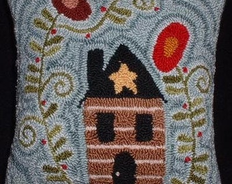 Primitive Needle Punch PATTERN Cabin Among the Flowers